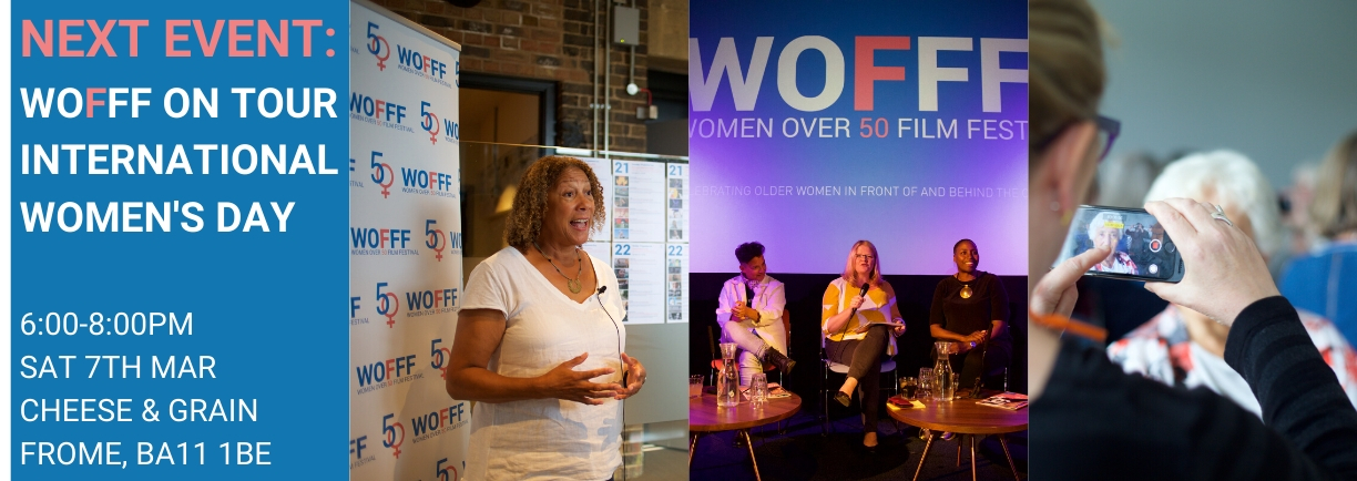 3 images from Women Over 50 Film festival - a woman speaking; a panel of speakers; a woman filming another woman on an iPhone