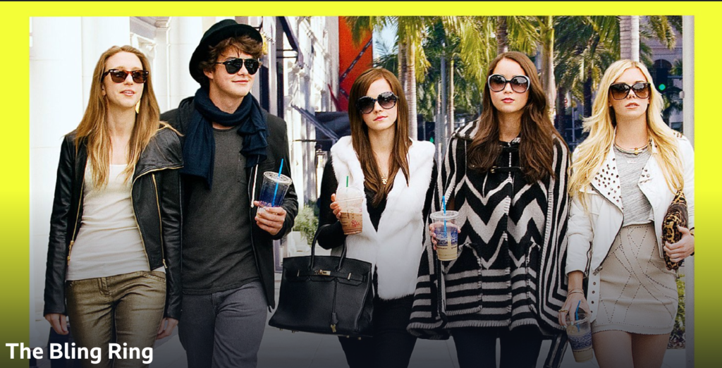 5 confident teenagers stride down a street in LA