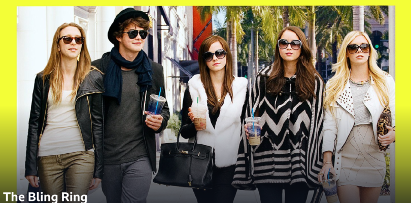 5 teenagers in designer label clothes stride confidently along a street in LA